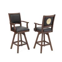 "Guinness Pair of 30"" Barstools with Arms - Walnut"