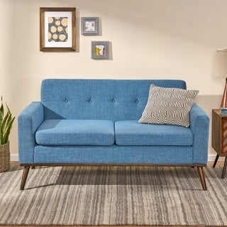 Stormi Mid Century Modern Fabric Loveseat by Christopher Knight Home