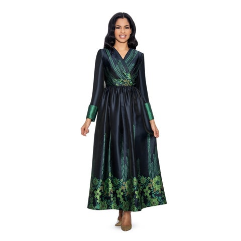 Giovanna Collection Women's Digital Print Pleated Long Dress