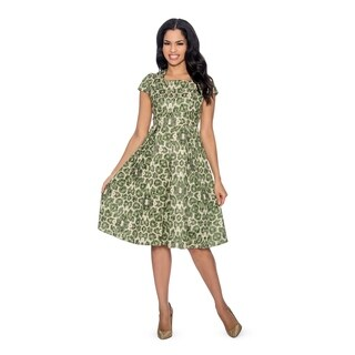 Giovanna Collection Women's Printed Brocade Pleated A-line Dress (More options available)