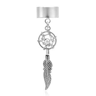 Handmade Dangling Dreamcatcher Sterling Silver Cuff Earring (Thailand)
