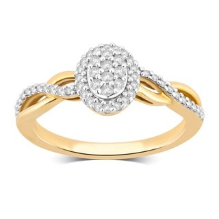 Divina 10KT Yellow Gold 1/4ct TDW Diamond Cluster Engagement Ring (3 options available)
