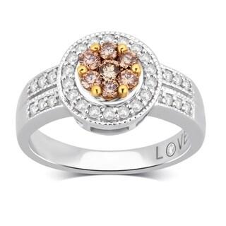 Divina 14KT White Gold 1/2ct TDW Diamond Cluster Engagement Ring