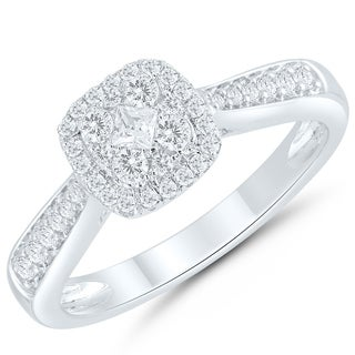 Caressa Sterling Silver 1/3CT. T.W.Diamond Composite Square Frame Engagement Ring - White H-I