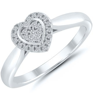 Caressa Sterling Silver 1/10CT. T.W. Diamond Composite Heart Shaped Frame Promise Ring - White H-I