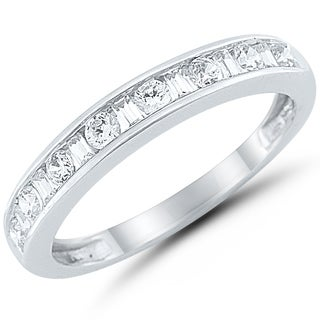 Caressa 14k White Gold 1/2CT. T. W. Round & Baguette Channel Anniversary Band