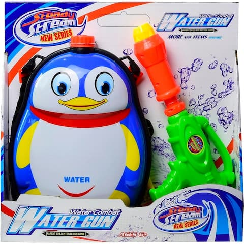"Backpack Penguin Water Blaster - 8.5""Lx2.0""wx13""H"