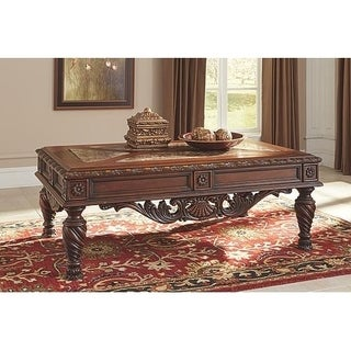 Signature Design by Ashley, North Shore Traditional Dark Brown Coffee Table