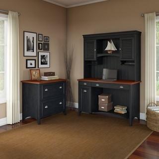 Copper Grove Samtredia Computer Desk, Hutch, and 2-drawer File Cabinet in Black