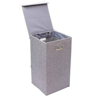BirdRock Home Single Laundry Hamper with Lid and Removable Liner | Linen | Foldable Hamper | Cut Out Handles
