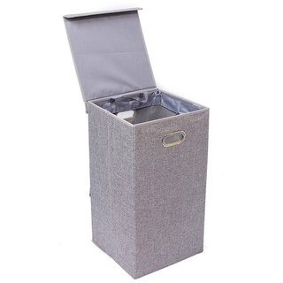 Link to BirdRock Home Single Laundry Hamper with Lid and Removable Liner | Linen | Foldable Hamper | Cut Out Handles Similar Items in Laundry