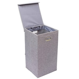 BirdRock Home Single Laundry Hamper with Lid and Removable Liner Linen Foldable Hamper Cut Out Handles