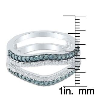 Caressa 14k White Gold 1/2CT. T.W. Blue & White Diamond Double Row Solitaire Enhancer