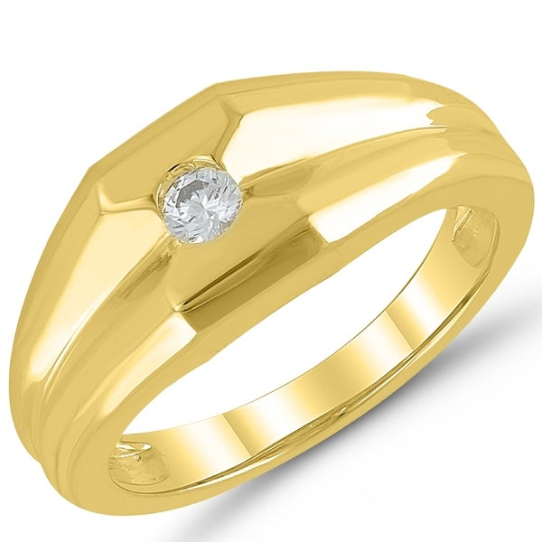 b9b338bcf3 Shop Caressa 10k Yellow Gold 1/7CT. T.W Diamond Men's Solitaire Wedding Ring  - White - Free Shipping Today - Overstock - 20728653