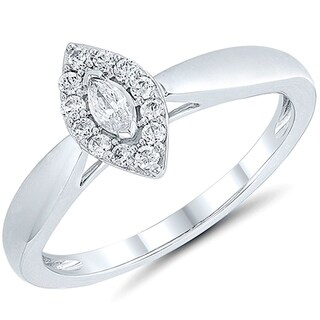 Caressa 14K White Gold 1/2CT. T.W. Diamond Frame Engagement Ring - White H-I