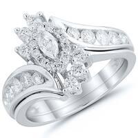 Caressa 14k White Gold 1.00CT. T.W. Diamond Marquise Bypass Frame Bridal Set - White H-I