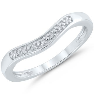 Caressa Sterling Silver Diamond Accent Contour Wedding Band - White H-I