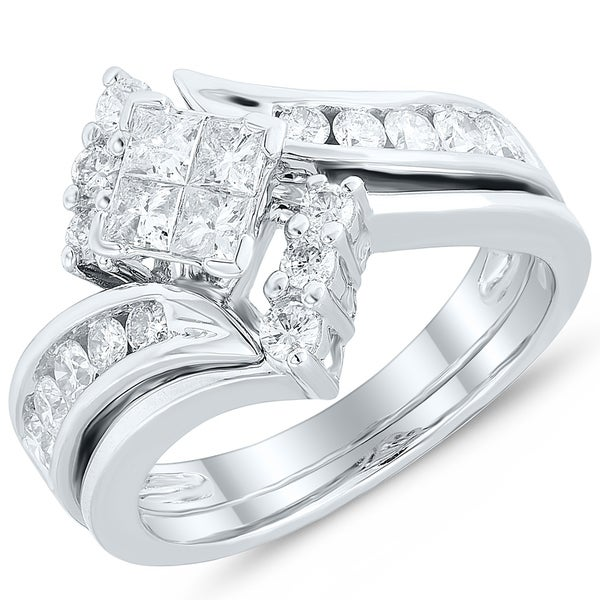 aa7000262 Shop Caressa 14k White Gold 1.00CT. T.W. Diamond Princess-Cut Quad Bypass Bridal  Set - White H-I - Free Shipping Today - Overstock - 20728698