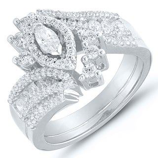 Caressa 14k White Gold 1.00CT. T.W. Diamond Marquise Bypass Frame Bridal Set - White H-I