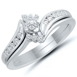 Caressa 10k White Gold 3/8CT. T.W. Diamond Princess- Cut Bypass Bridal Set - White H-I