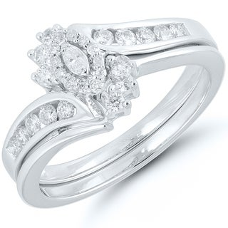 Caressa 14k Gold 3/8CT. T.W. Diamond Marquise Bypass Frame Bridal Set - White H-I (2 options available)