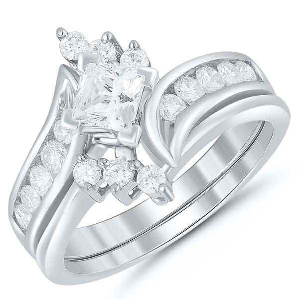 acb32401a Shop Caressa 14k White Gold 1.00CT. T.W. Princess Cut Diamond Bypass Bridal  Set - White H-I - Free Shipping Today - Overstock - 20728713