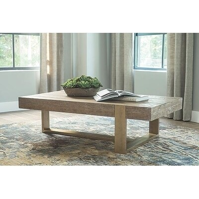 ashley signature design paluxy light brown wood and steel coffee table - Light Colored Coffee Tables