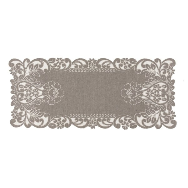 Claire Floral Embroidered Cutwork Table Runner, 16 By 36 Inch, Grey