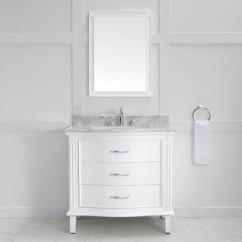Mira 36 in. x 22 in. Single Vanity Carrara Marble Vanity Top & White Ceramic Basin