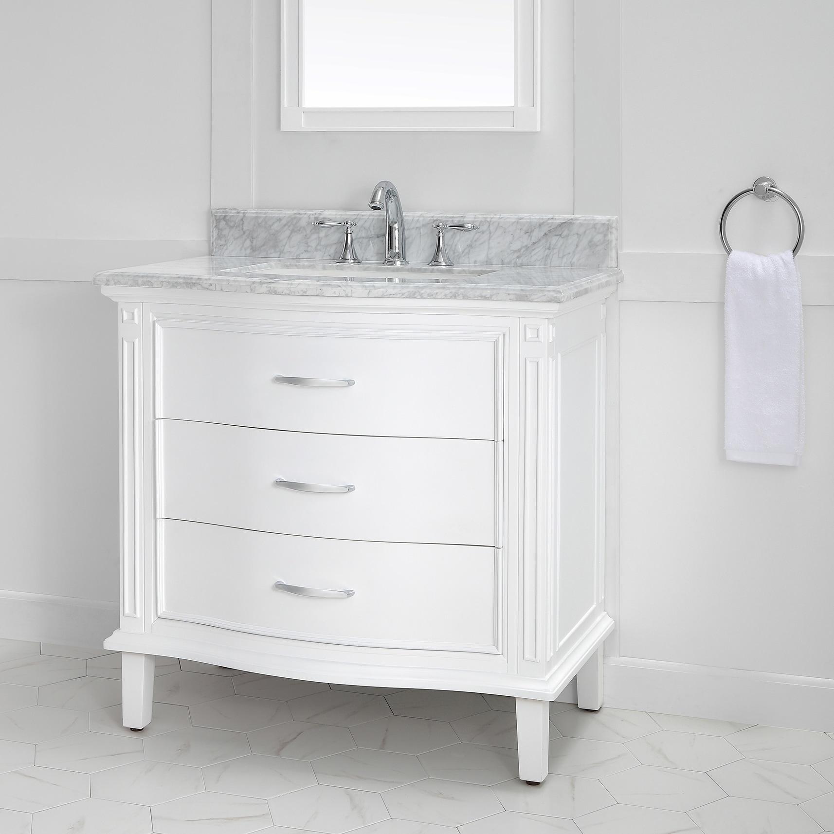 Mira 36 In X 22 Single Vanity Carrara Marble Top White Ceramic Basin