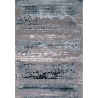 Concord Global Thema Distressed Blue Area Rug - 6'7 x 9'3