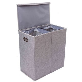 BirdRock Home Double Laundry Hamper with Lid and Removable Liners | Linen |  Foldable Hamper | Cut Out Handles