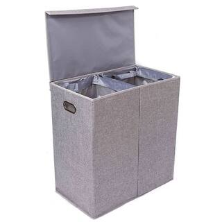 Birdrock Home Double Laundry Hamper With Lid And Removable Liners Linen Foldable Cut Out Handles