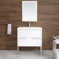 Braxton 32 in. x 18 in. Single Vanity in White with a White Ceramic Top & Integrated White Basin