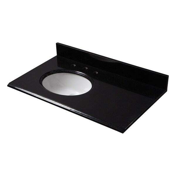 Black Granite Left Offset Basin Vanity Top 8 In Spread Free Shipping Today 20729005