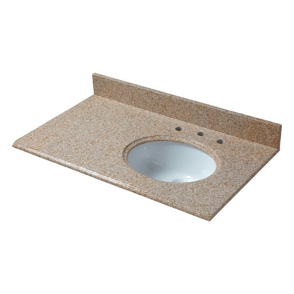 Beige Granite Right Offset Basin Vanity Top 8 In Spread Free Shipping Today 20729006