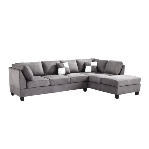 Lyke Home Grey Microsuede Sectional