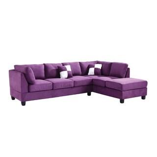 Lyke Home Purple Microsuede Sectional