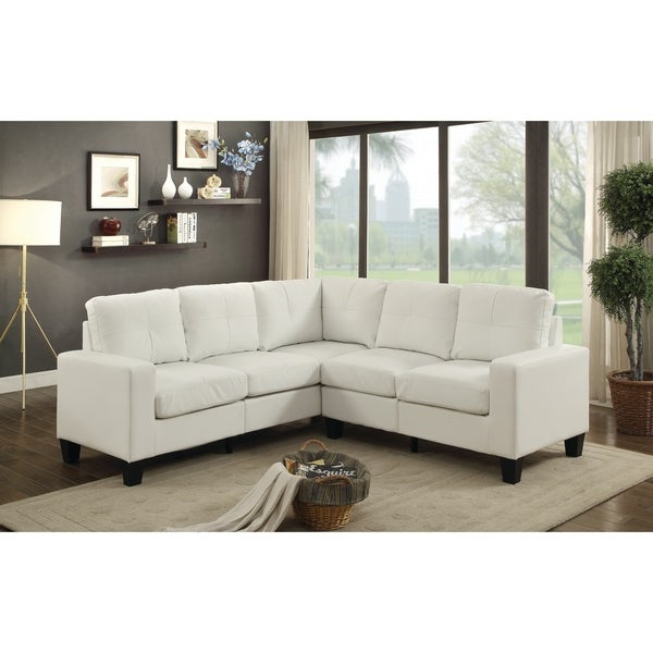 Shop Lyke Home Grey Faux Leather Sectional On Sale Free Shipping