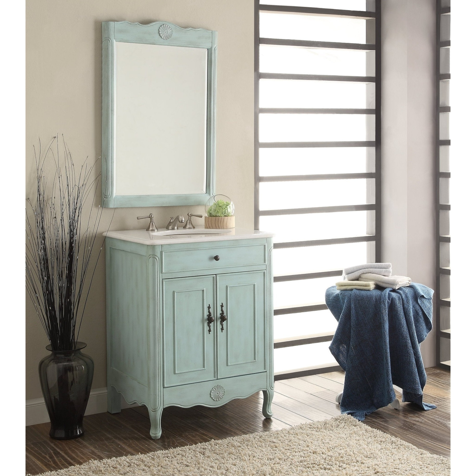 26 Benton Collection Daleville L Blue Vintage Bathroom Vanity Sink Overstock 20729035