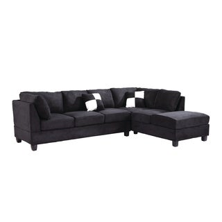 Lyke Home Black Microsuede Sectional