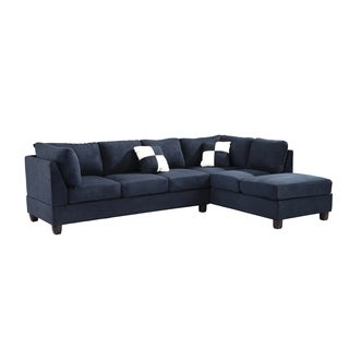 Lyke Home Navy Blue Microsuede Sectional