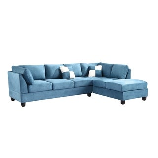 Lyke Home Aqua Microsuede Sectional
