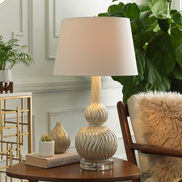 Picken 27 in. Pearlized Ivory Updated Traditional Table Lamp
