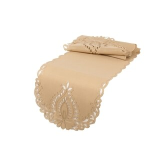 Wilshire Embroidered Cutwork Table Runner, 16 by 36-Inch, Beige (3 options available)