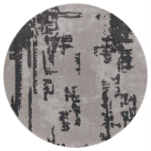 Abby Twilight Collection Gray Round Area Rug - 5'3 x 5'3