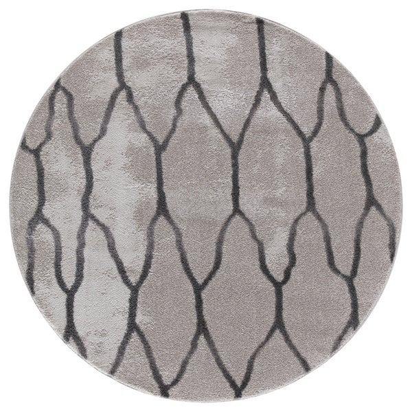 Aylin Twilight Collection Gray Round Area Rug - 5'3 x 5'3