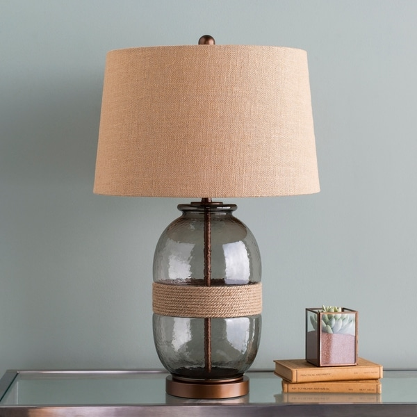 Thane 27.25 in. Charcoal Glass Transitional Table Lamp