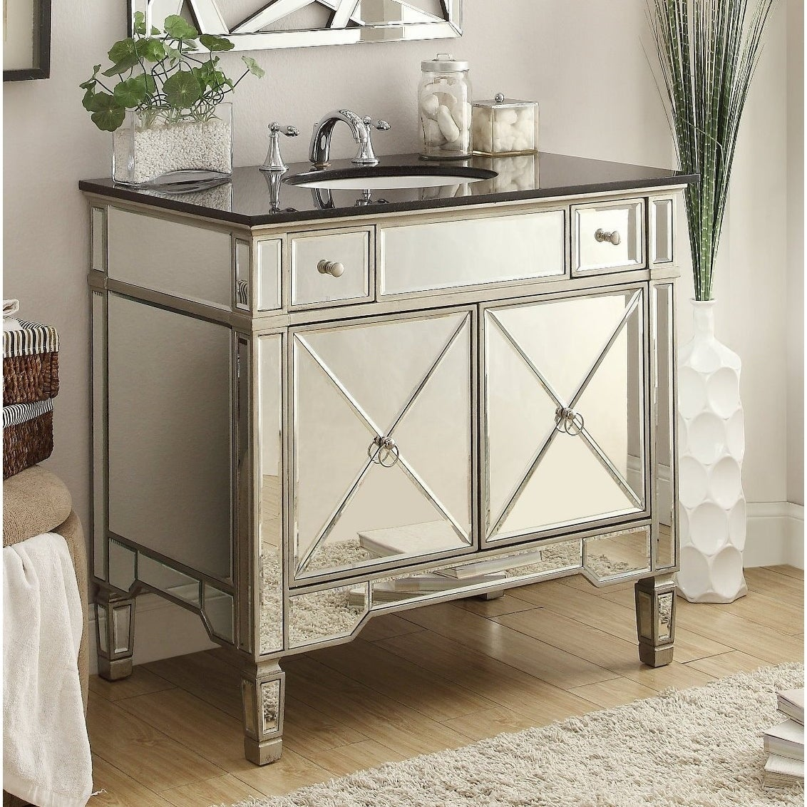 36 Benton Collection Ashlyn Modern Mirrored Bathroom Sink Vanity On Sale Overstock 20729324
