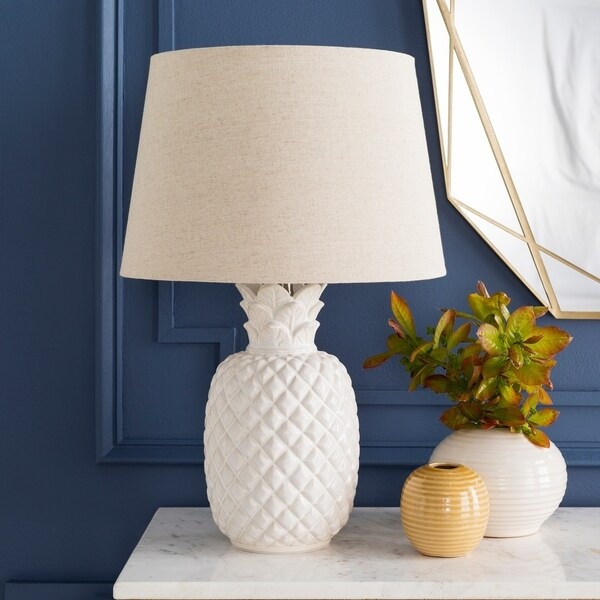 Anwar 23.75 in. Off-White Pineapple Table Lamp